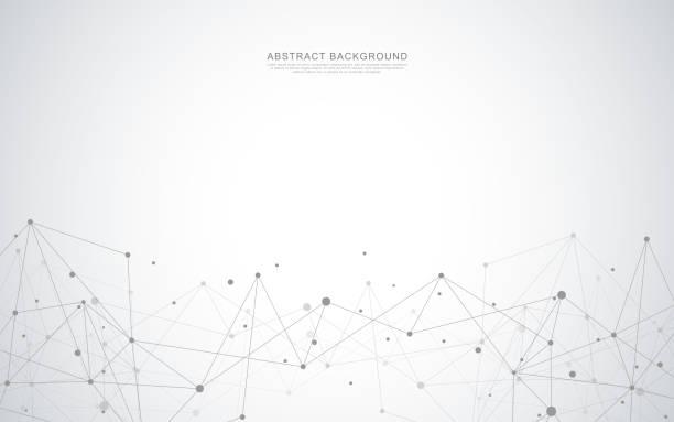 abstrakcyjne tło geometryczne z łączącymi się kropkami i liniami - sieć komputerowa stock illustrations