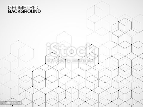 istock Abstract geometric background with cubes. Geometrical concept with lines and points 1255454014