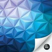Modern geometric background with a realistic curled corner of paper. (Abstract polygonal background - Low Poly, Geometric Vector).
