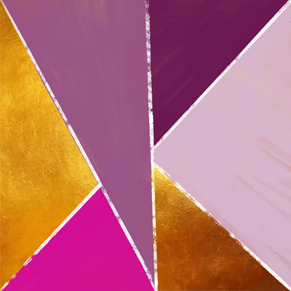 Abstract Geometric Background with Gold and Pastel Colored Triangles. Golden invitation, brochure or banner with minimalistic geometric style. Gold lines, Glitter, Frame, Vector Fashion Wallpaper, Poster .Abstract Triangle Multicolored Acrylic Painting Ba