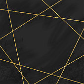 Abstract Geometric Background with Gold Lines and Blackboard Background.