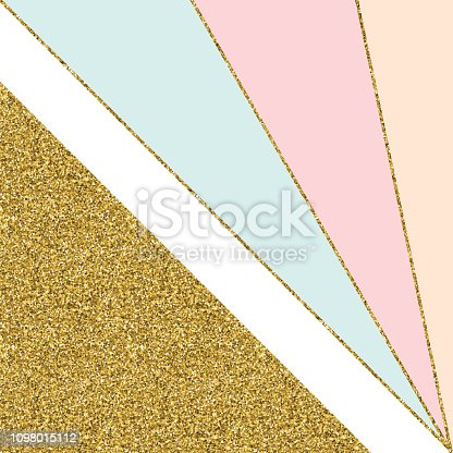Abstract Geometric Background with Gold Lines and Pastel Colored Triangles. Golden invitation, brochure or banner with minimalistic geometric style. Gold lines, Glitter, Frame, Vector Fashion Wallpaper, Poster