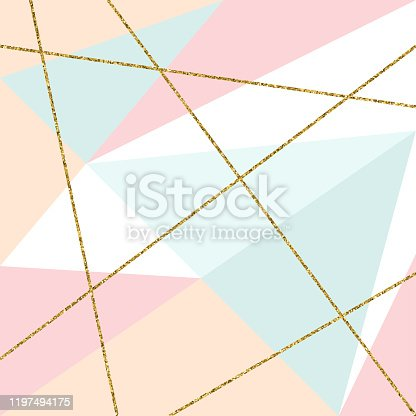 istock Abstract Geometric Background with Gold Lines and Pastel Colored Triangles. Golden invitation, brochure or banner with minimalistic geometric style. Gold lines, Glitter, Frame, Vector Fashion Wallpaper, Poster 1197494175