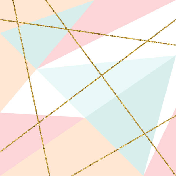 Abstract Geometric Background with Gold Lines and Pastel Colored Triangles. Golden invitation, brochure or banner with minimalistic geometric style. Gold lines, Glitter, Frame, Vector Fashion Wallpaper, Poster Abstract Geometric Background with Gold Lines and Pastel Colored Triangles. Golden invitation, brochure or banner with minimalistic geometric style. Gold lines, Glitter, Frame, Vector Fashion Wallpaper, Poster femininity stock illustrations