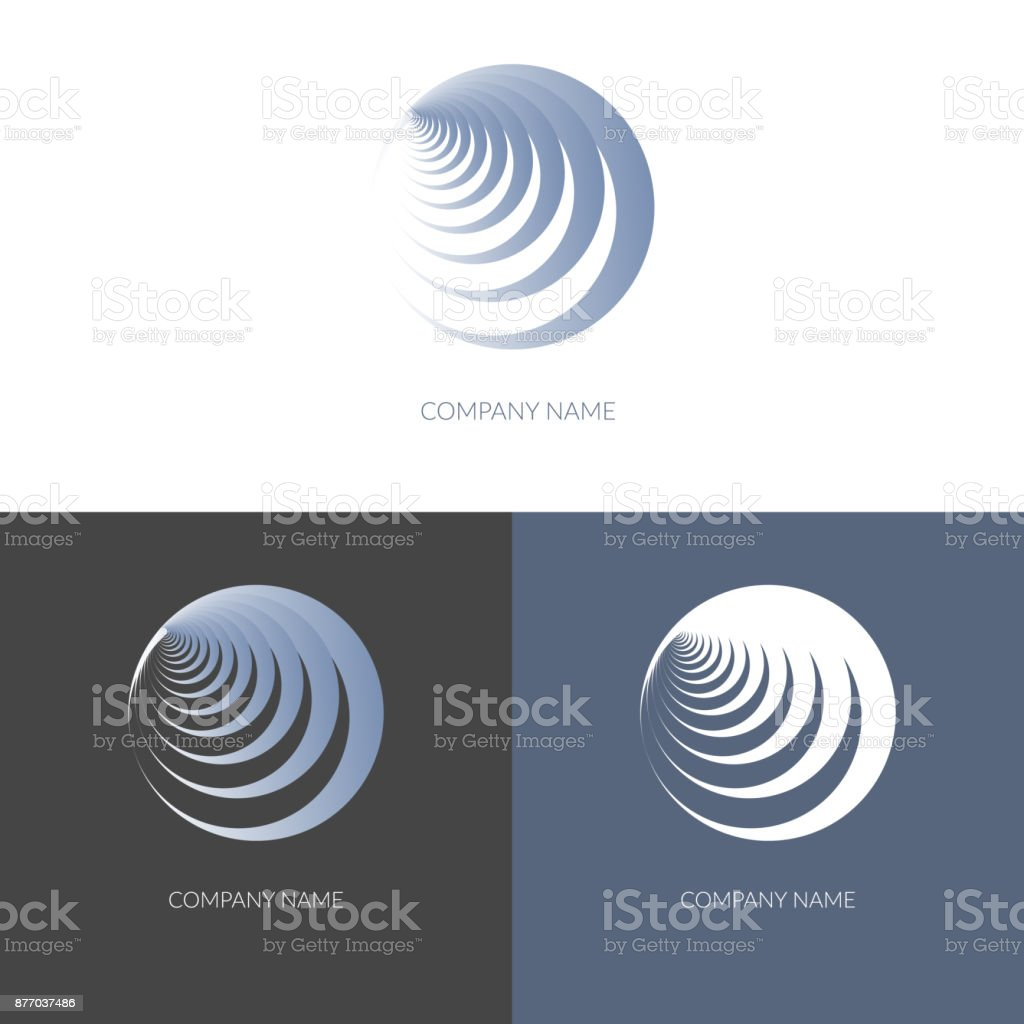 Abstract geometric banner label in the shape of round blue spiral Logo for the company business Design element icon logo Isolate Vector vector art illustration