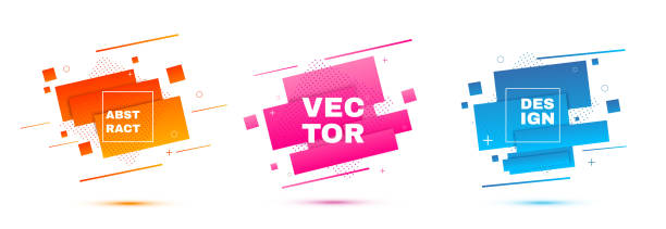 stockillustraties, clipart, cartoons en iconen met abstracte geometrische banners. shapes voor verloop. - spatten activiteit