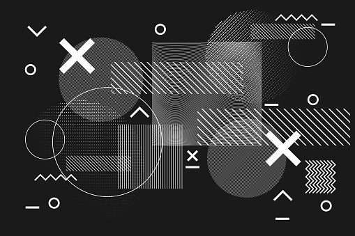 Abstract geometric black and white glitch background