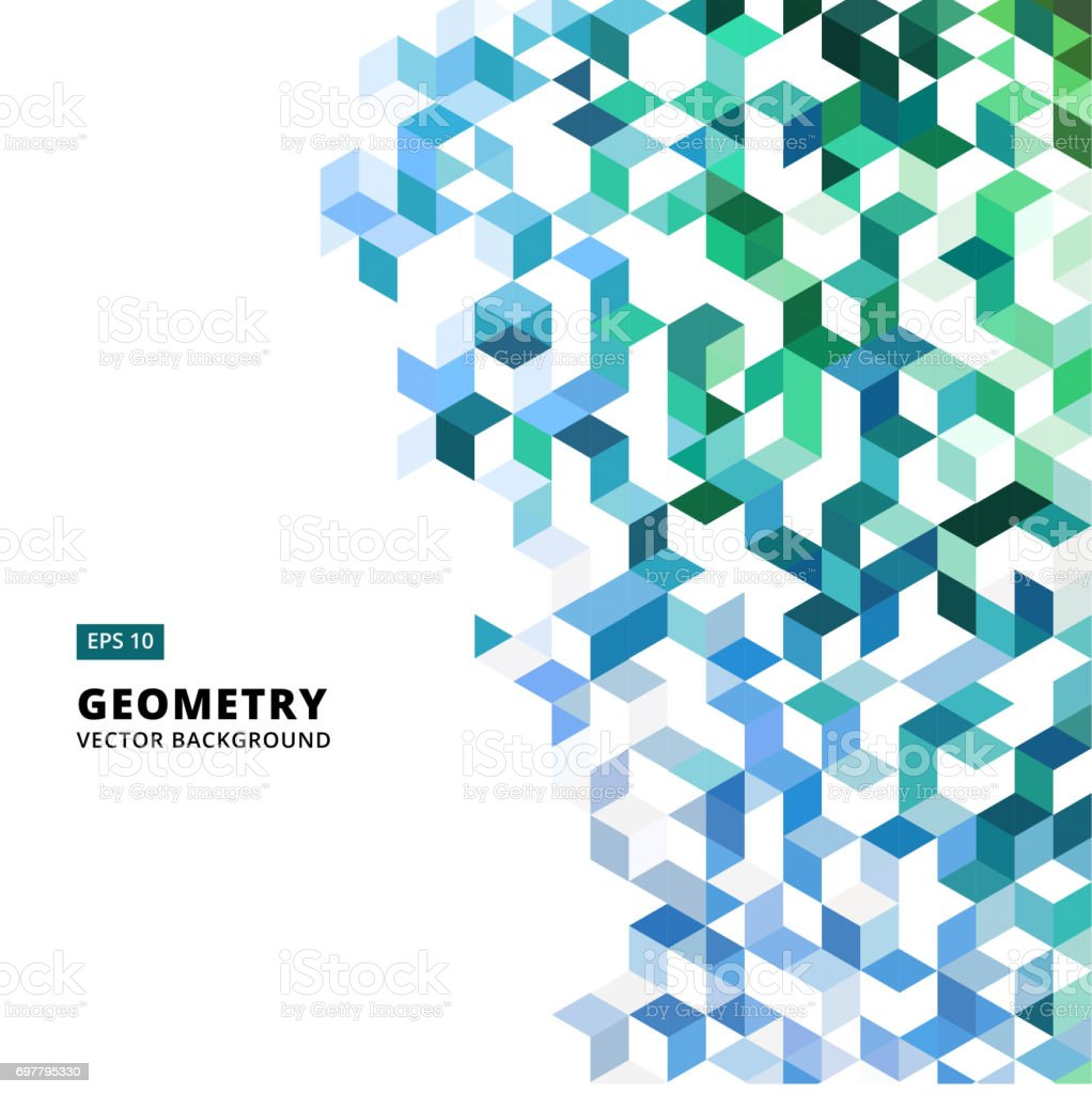 abstract geometric blue and green bricks, triangle, cube, 3d Vector royalty-free abstract geometric blue and green bricks triangle cube 3d vector stock illustration - download image now