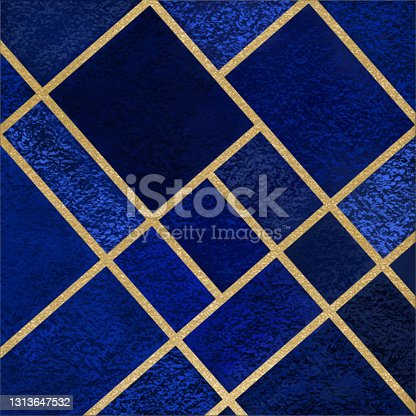 Abstract Geometric Blue Background with Gold Lines. Golden invitation, brochure or banner with minimalistic geometric style. Gold lines, Glitter, Frame, Vector Fashion Wallpaper, Poster. Abstract Rectangle Blue Toned Acrylic Painting Background.