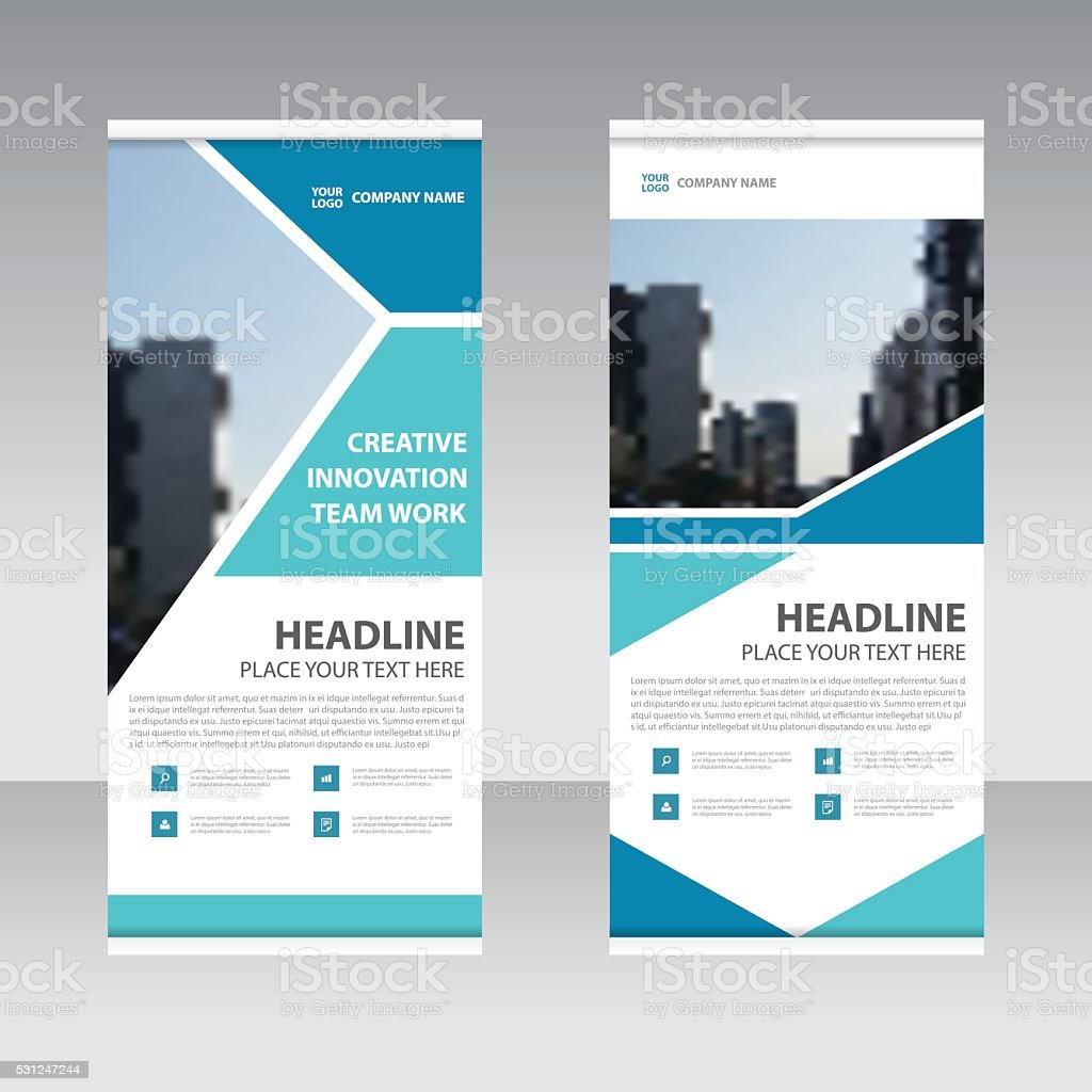 Abstract Geometric Blue Business Roll Up Banner flat design template vector art illustration