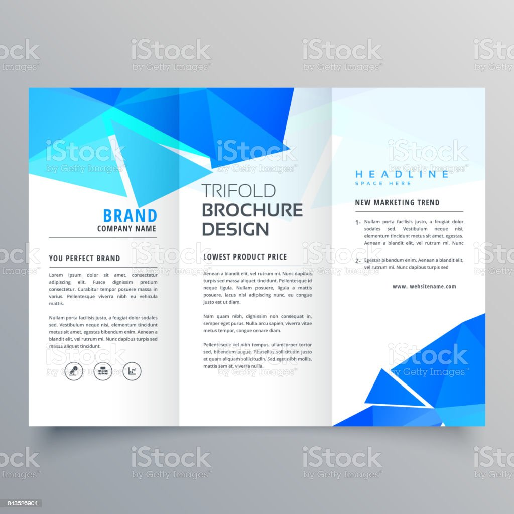 abstract geometric blue shapes trifold brochure template vector art illustration