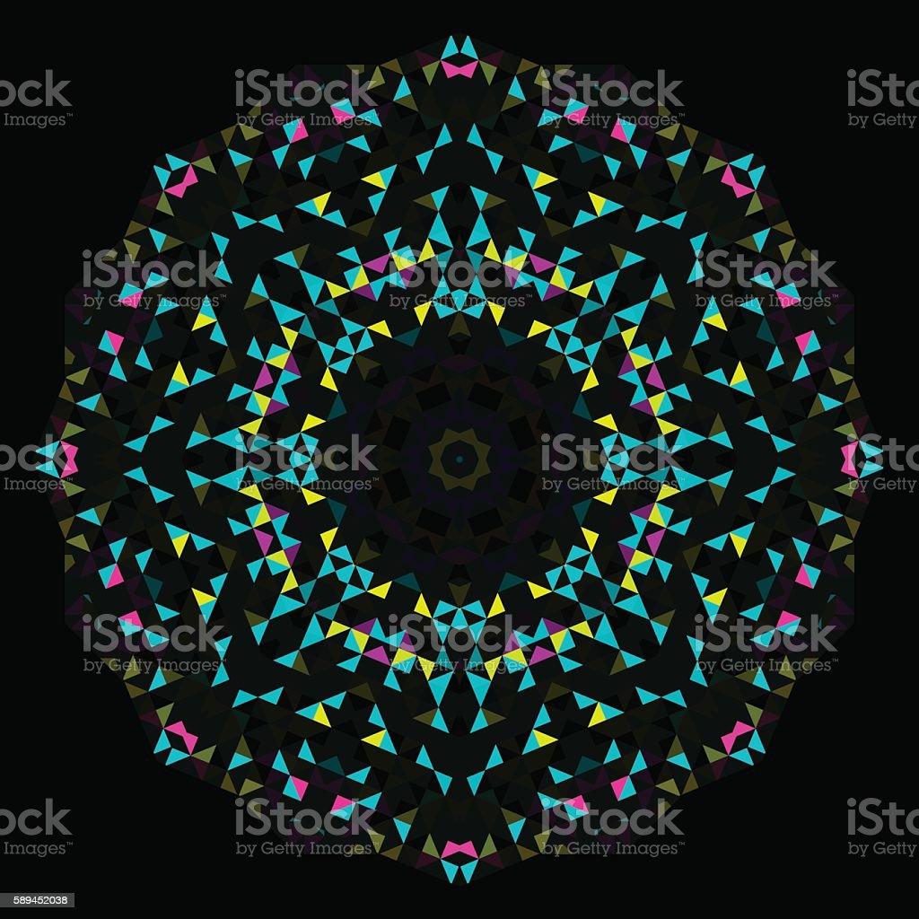 Abstract Geometric Bright Kaleidoscope Pattern. vector art illustration