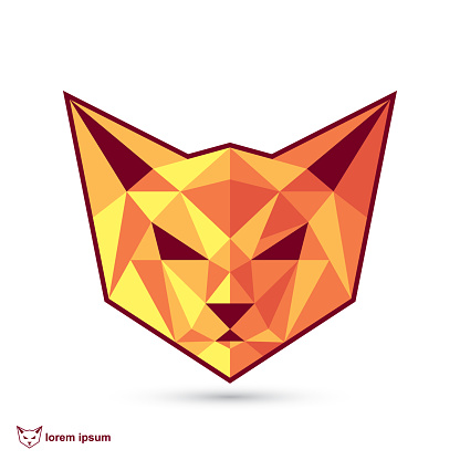 Abstract geometric cat face - isolated vector illustration suitable for logo