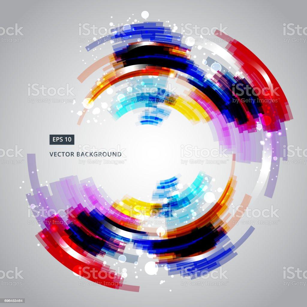 抽象的な幾何学的なカラフルな輪行ベクトル背景技術効果を照明
