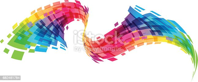 Multicolored design element isolated on white background