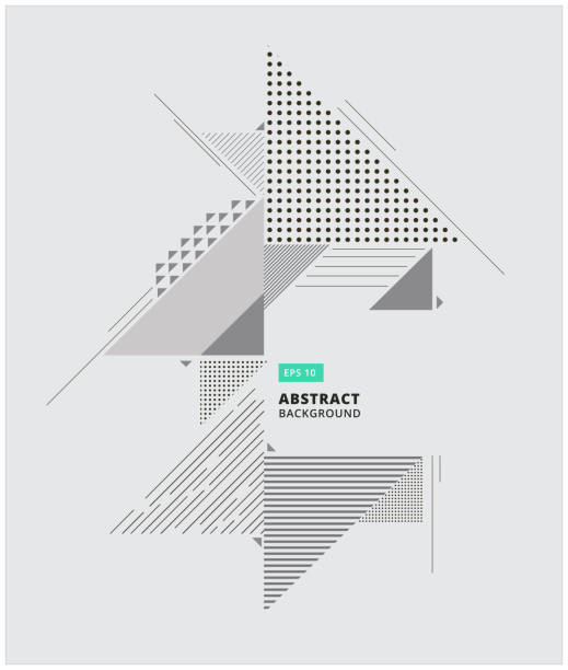 Abstract geometric composition forms modern background with decorative triangles and patterns backdrop vector illustration for print, ad Abstract geometric composition forms modern background with decorative triangles and patterns backdrop vector illustration for print, ad, magazine, triangle shape stock illustrations
