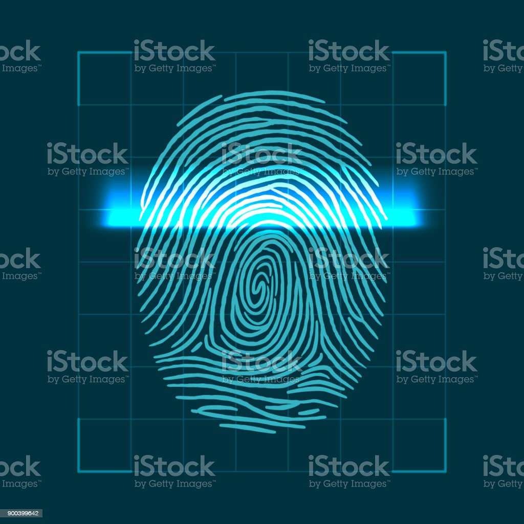 Abstract geometric concept for scanning fingerprints. personal ID verification. Vector illustration vector art illustration