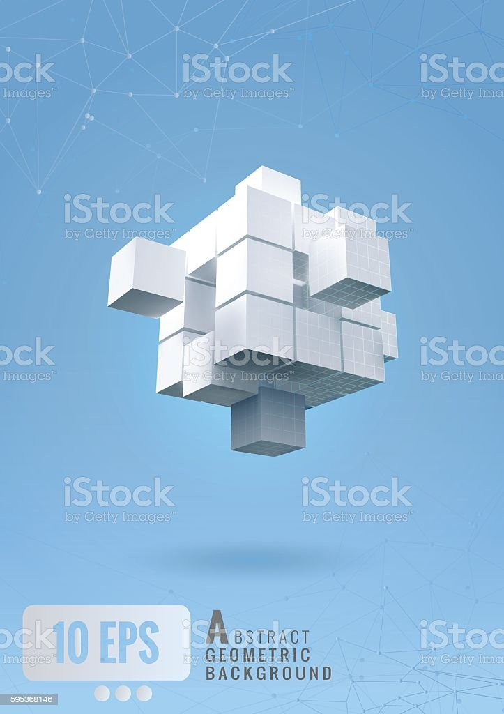 Abstract geometric cube set on blue background vector art illustration
