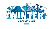 Abstract geometric design for winter. Christmas offer banner with vector liquid form and decor of snowflakes and sparkles. Blue creative template mid season sale graphic with fluid dynamic shape