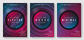 Abstract geometric electronic music poster designs, brochure cover templates, flyers. Vector illustration.