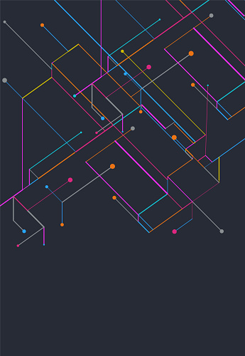 abstract geometric elements isometric digital tech background