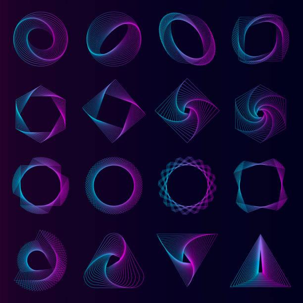 abstract geometric elements set vector - спираль stock illustrations
