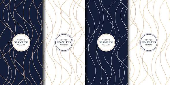 Abstract geometric flyer collections with wavy lines gold. Set of elegant dark wallpaper with golden details.