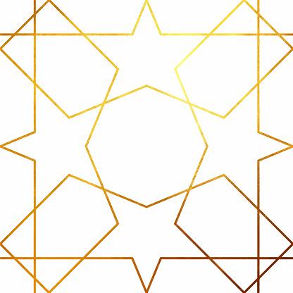 Abstract Geometric Gold Line Art Background.  Metallic invitation, brochure or banner with minimalistic geometric style. Lisbon Arabic Geometrical Mosaic, Mediterranean Ornament. Greeting Card Template, Vector Fashion Wallpaper, Poster.