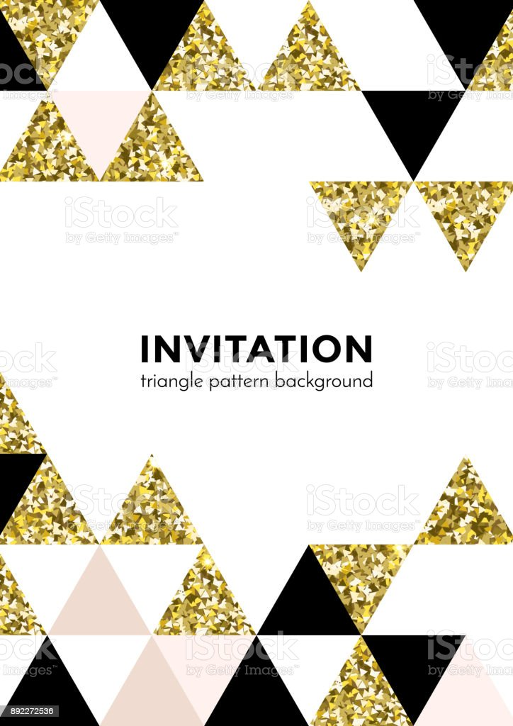 Abstract Geometric Gold Pattern Background For Invitation Card