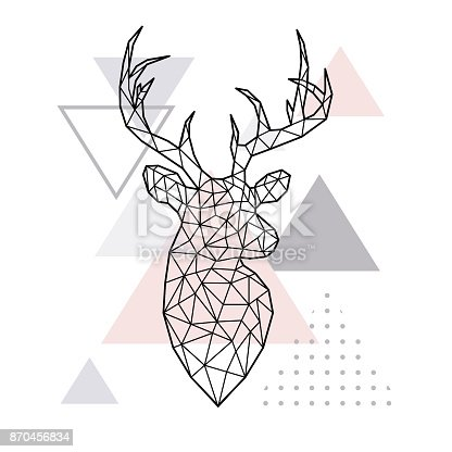 Abstract geometric head of a forest deer. Scandinavian style. Vector illustration.
