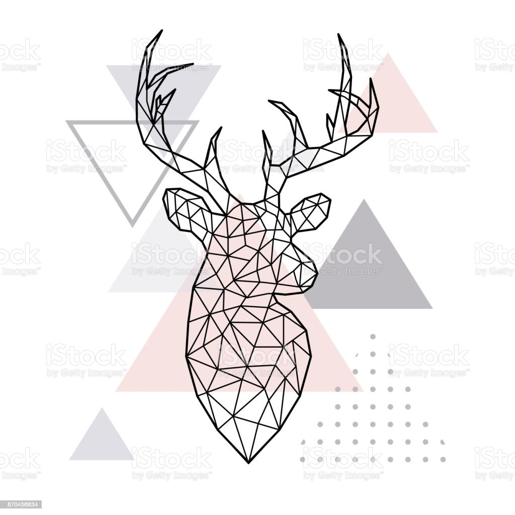 Altura geométrica abstracta de un ciervo del bosque. Estilo escandinavo. Ilustración de vector. - ilustración de arte vectorial