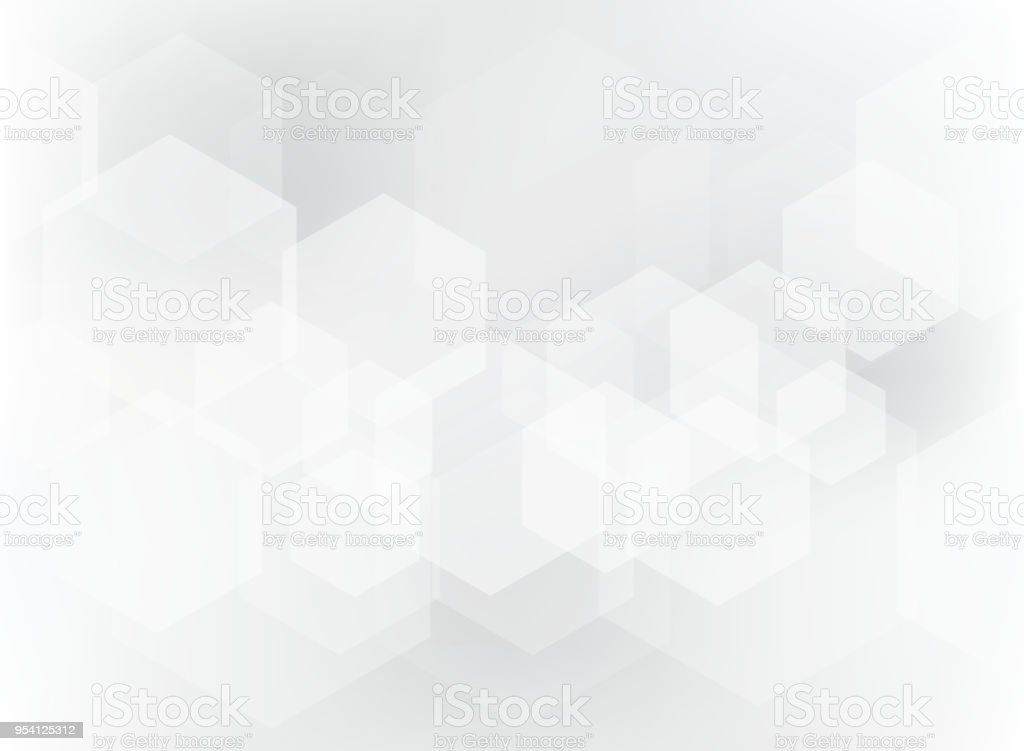 Abstract geometric hexagon overlay pattern on white and gray background.