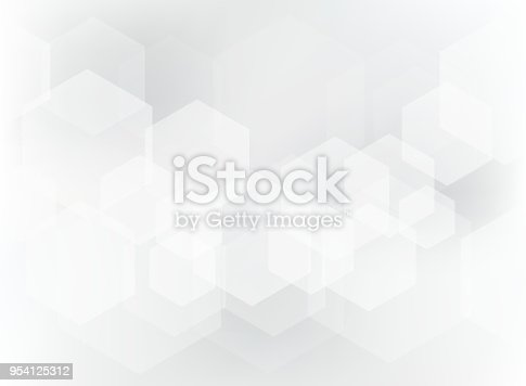 Abstract geometric hexagon overlay pattern on white and gray background. Technology template with copy space. Vector illustration