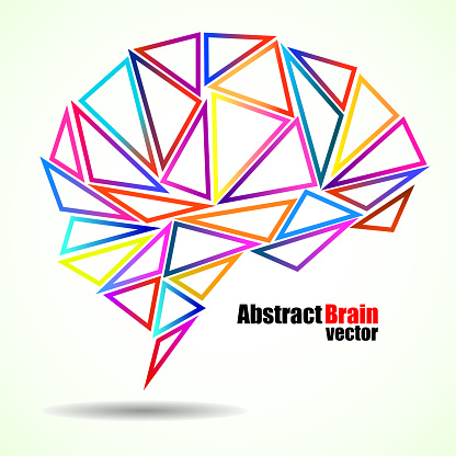 Abstract geometric human brain from colorful triangles