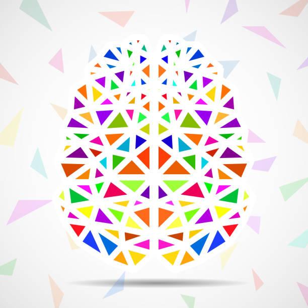 abstrakte geometrische menschliche gehirn von bunten dreiecken - kultfilme stock-grafiken, -clipart, -cartoons und -symbole