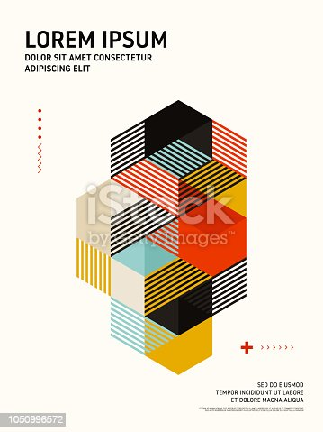 Abstract geometric isometric shape layout design template background modern art style. Design element can be used for poster, backdrop, publication, brochure, flyer, advertising, vector illustration