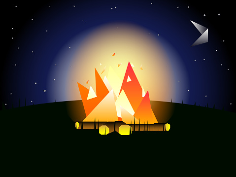 Abstract geometric landscape - Burning bonfire in the night.