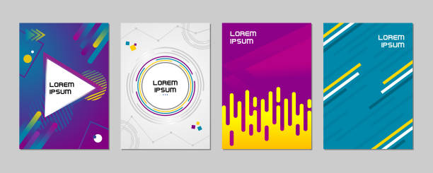 Abstract geometric line and circle pattern background wallpaper cover template set Abstract geometric line and circle pattern background for business brochure and book cover design, etc. Blue, yellow, purple, orange, pink and tosca vector banner poster template - Vector riz stock illustrations