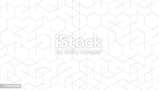 istock Abstract geometric lines on white background. Technology and connection concept. 1206593059