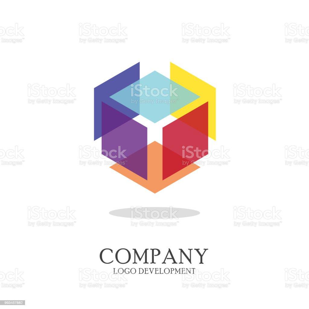 Abstract geometric logo design vector art illustration