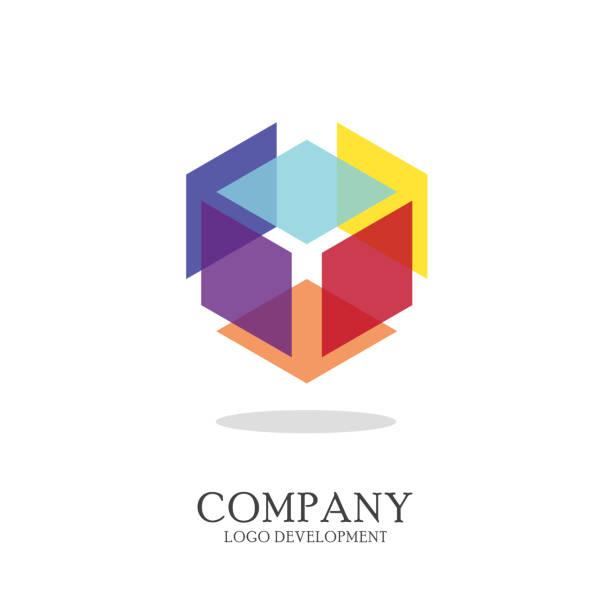 Abstract geometric logo design Abstract geometric logo design. Vector illustration cube shape stock illustrations