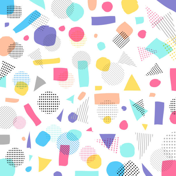 ilustrações de stock, clip art, desenhos animados e ícones de abstract geometric modern pastels color, black dots pattern with lines diagonally on white background - músico popular