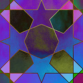 Abstract Geometric Multi Colored Background. Metallic invitation, brochure or banner with minimalistic geometric style. Lisbon Arabic Geometrical Mosaic, Mediterranean Ornament. Greeting Card Template, Vector Fashion Wallpaper, Poster. Abstract Multi Colored Acrylic Painting Background. Elegant Texture Design Element for Greeting Cards and Labels, Abstract Background.