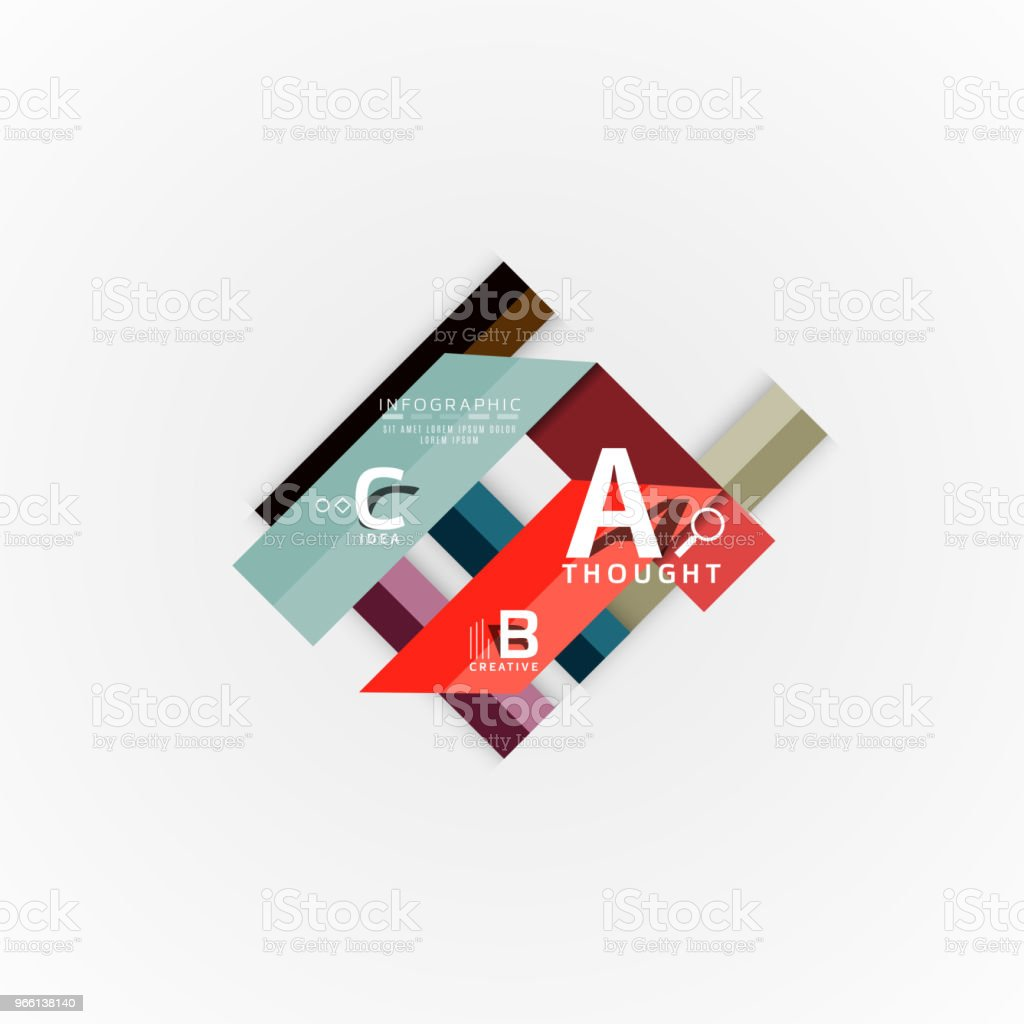 Abstract geometric option infographic banners, a b c steps process - Royalty-free Abstract stock vector