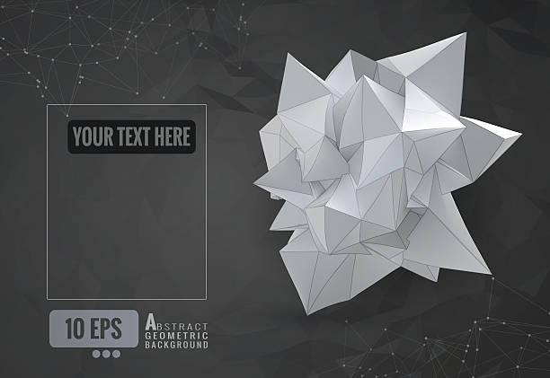 Abstract geometric paper shape on dark polygonal BG vector art illustration