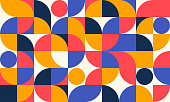 istock Abstract Geometric Pattern Artwork. Retro colors and white background. 1291627052