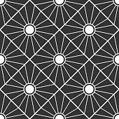 Abstract geometric pattern seamless pattern. Striped rhombuses with a circle in the center. Art deco sunburst pattern. Floor tiles. Flat design. Vector monochrome background.