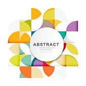 Abstract geometric pattern template with a variety of geometric