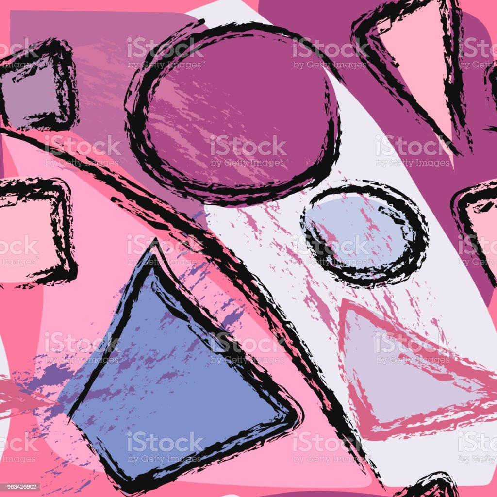 Abstrakcyjny geometryczny wzór z okręgami, trójkątami i kwadratami. - Grafika wektorowa royalty-free (Abstrakcja)
