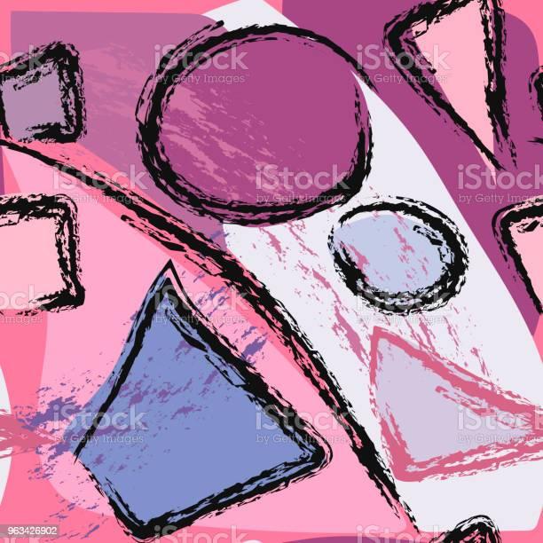 Abstrakcyjny Geometryczny Wzór Z Okręgami Trójkątami I Kwadratami - Stockowe grafiki wektorowe i więcej obrazów Abstrakcja